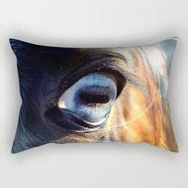 Horse Blue Watch Eye Rectangular Pillow