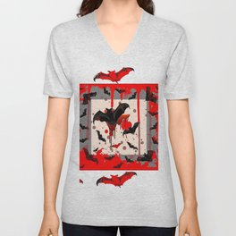 FREAKING HALLOWEEN BLOODY BAT PARTY Unisex V-Neck
