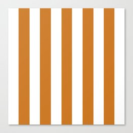 Ochre orange - solid color - white vertical lines pattern Canvas Print