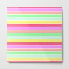 Pastel Rainbow Sorbet Horizontal Deck Chair Stripes Metal Print
