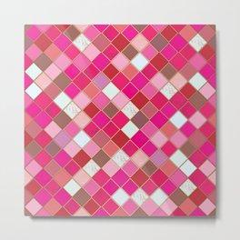 Pink Tiles Pattern Metal Print