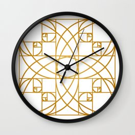 Golden Flower Wall Clock