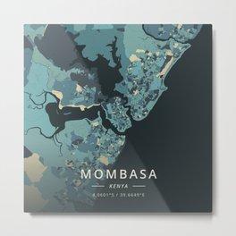 Mombasa, Kenya - Cream Blue Metal Print