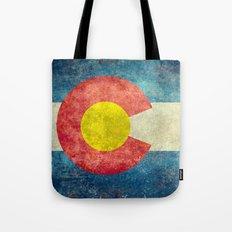 Colorado flag in Retro Grunge Tote Bag