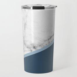 Real White Marble Half Ocean Sapphire Steel Blue Travel Mug
