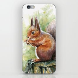 Squirrel and Nut Forest Animals Watercolor iPhone Skin