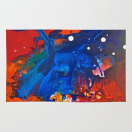 Humo, Vibrant wet on wet abstract, NYC artist Rug