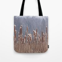 furry Tote Bags featuring Furry Cattails by DanByTheSea