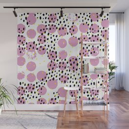 Dots and dashes pop rain colorful abstract design pink Wall Mural