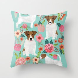 Jack Russell Floral Dog Print - jack russell art, jack russells, jack russell floral Throw Pillow