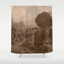 Irish Graveyard | Sepia Graveyard | Halloween Landscape Shower Curtain