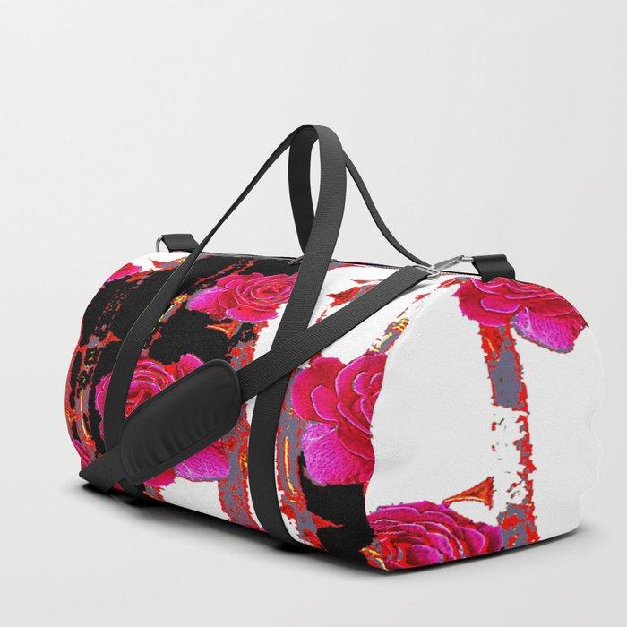 MODERN ART PINK ROSE BLACK & WHITE ART Duffle Bag