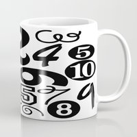 numbers Mugs featuring Numbers by Sweet Colors Gallery