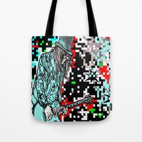 heavy metal Tote Bags featuring Abstract Heavy Metal Rocks by Saundra Myles