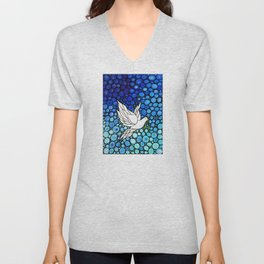 Peaceful Journey - Vibrant white dove by Labor Of Love artist Sharon Cummings. Unisex V-Neck