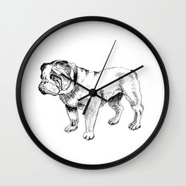 Bulldog Ink Drawing Wall Clock
