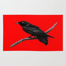 Decorative Chinese Red Black Crow Design Rug