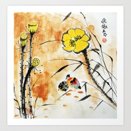 The lotus and Two Birds Art Print