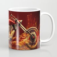 motorbike Mugs featuring FIRE MOTORBIKE by Acus