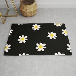 Simple Floral pattern black  Rug