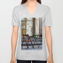 Coffee time in Catania on the Isle of Sicily Unisex V-Neck