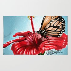 Butterfly on flower 2 Rug