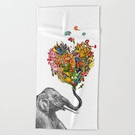 Happy Elephant  Beach Towel