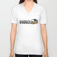 vikings V-neck T-shirts featuring Norwegian Vikings Full Logo by Griffey Challenge