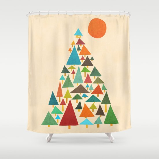 The house at the pine forest Shower Curtain