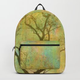 Golden Tree Silhouette, Rainbow Color Background Backpack