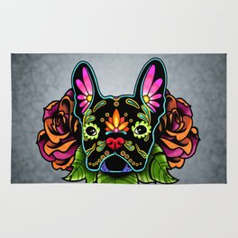 French Bulldog in Black - Day of the Dead Bulldog Sugar Skull Dog Rug