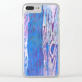 Modern Faux Bois Woodgrain Pattern in Blue Clear iPhone Case