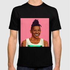 Hipstory - Barack Obama Black Mens Fitted Tee LARGE