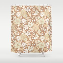 Helleborus and birds | gold Shower Curtain