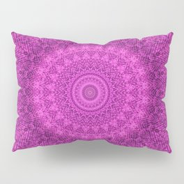 Sunflower Peacock Feather Bohemian Pattern \\ Aesthetic Vintage \\  Bright Fuchsia Pink Color Scheme Pillow Sham