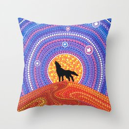 Night of the Wandering Wolf Throw Pillow