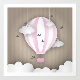 Pink Balloon Ride Art Print