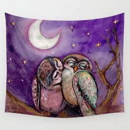 Owls in love Wall Tapestry