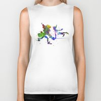 captain hook Biker Tanks featuring Peter Pan and Captain Hook in watercolor by Paulrommer