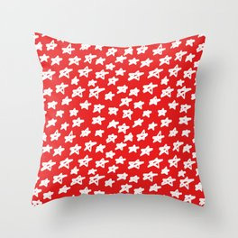 Stars on red background Throw Pillow