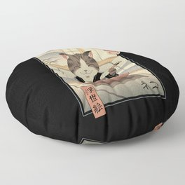 Neko Ramen Ukiyo-e Floor Pillow