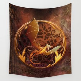 Gold Dragon Emblem on Faux Leather Wall Tapestry
