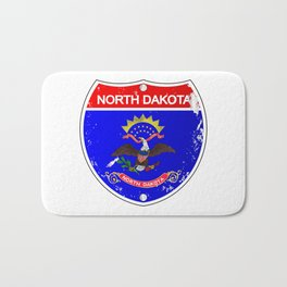 North Dakota Flag Icons As Interstate Sign Bath Mat