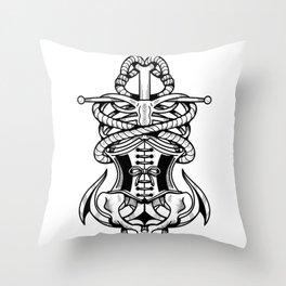 Sigil of the Lady Pirate (White Design) Throw Pillow