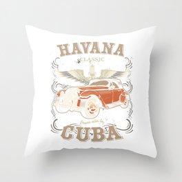 Havana Cuba Classic Car Racing Street Racing Hot Rod Racer Gifts Throw Pillow