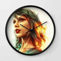 girl Wall Clocks featuring When the Sun Came Up by Alice X. Zhang