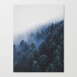 Foggy Blue Purple Mountain hill Pine Trees Landscape Nature Photography Minimalist Modern Art Canvas Print