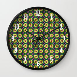 Dainty Yellow Flowers with Hot Pink Pistil Wall Clock