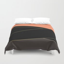Angelica . Coral , black , brown Duvet Cover