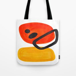 Midcentury Modern Colorful Abstract Pop Art Space Age Fun Bright Orange Yellow Colors Minimalist Tote Bag